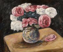 Léon WEISSBERG 1895 - 1943 Nature morte, vase de roses sur une table - 1922 Huile sur toile
