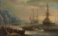 Attribué à Orazio Grevenbroeck 1670 - 1743 La chasse à la baleine Huile sur cuivre
