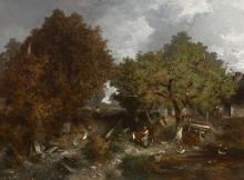 Louis-Adolphe Hervier Paris, 1818 - 1879 Cour de ferme animée Huile sur toile