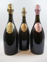 3 bouteilles 1 bt : CHAMPAGNE GOSSET 2004 Celebris Extra Brut (étui d'origine)