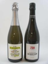 2 bouteilles 1 bt : CHAMPAGNE JACQUESSON Brut Cuvée N°738