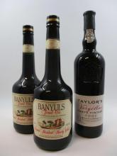 3 bouteilles 1 bt : PORTO TAYLOR'S 2001 Vintage. Quinta de Vargelas (étiquette fanée)