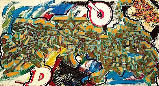 Aaron Sharp Goodstone dit SHARP (né en 1966) SANS TITRE, 1997 Bombe aérosol, acrylique, collages et peinture dorée sur toile