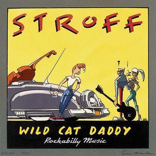 EVER MEULEN Eddy Vermeulen dit (né en 1942)  STROFF Encre de Chine et gouache de couleur pour la couverture du vinyl «Wild Cat Dadd...