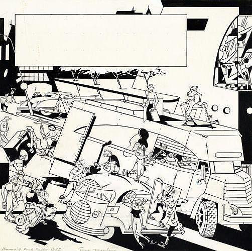 EVER MEULEN Eddy Vermeulen dit (né en 1942)  ROCK ROLLY Encre de Chine pour une illustration publiée dans la revue belge Humo. Signé...