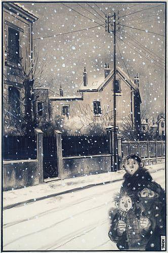 TARDI Jacques (né en 1946)  TARDI EN BANLIEUE Fusain et gouache blanche sur papier crème pour une illustration réalisée à l'occasion...
