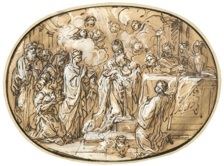 Attribué à Bon Boullogne Paris, 1649 - 1717 La Présentation au temple Plume et encre brune, lavis brun, rehauts de blanc, de forme o...