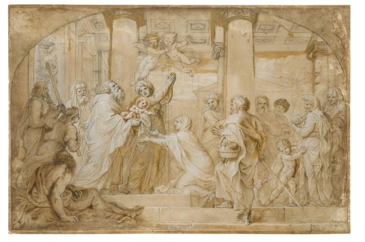Michel II Corneille Paris, 1642 - 1708 La Présentation au temple Lavis brun et rehauts de blanc sur trait de crayon noir, arrondi da...