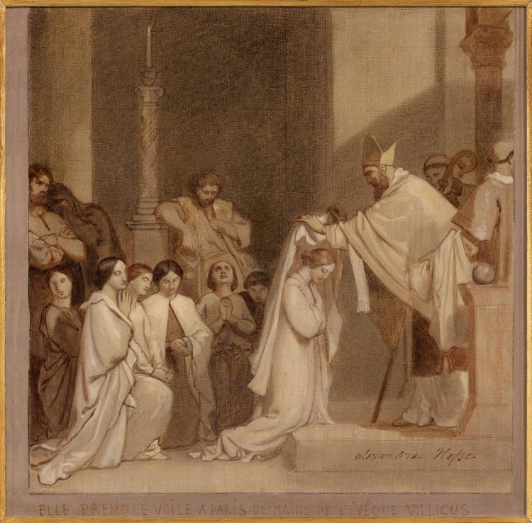 Alexandre-Jean-Baptiste Hesse Paris, 1806 - 1879 La consécration de sainte Geneviève Huile sur toile, grisaille