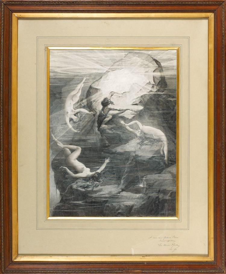 Luc-Olivier Merson Paris, 1846 - 1920 Alberich et les filles du Rhin Aquarelle gouachée sur trait de crayon