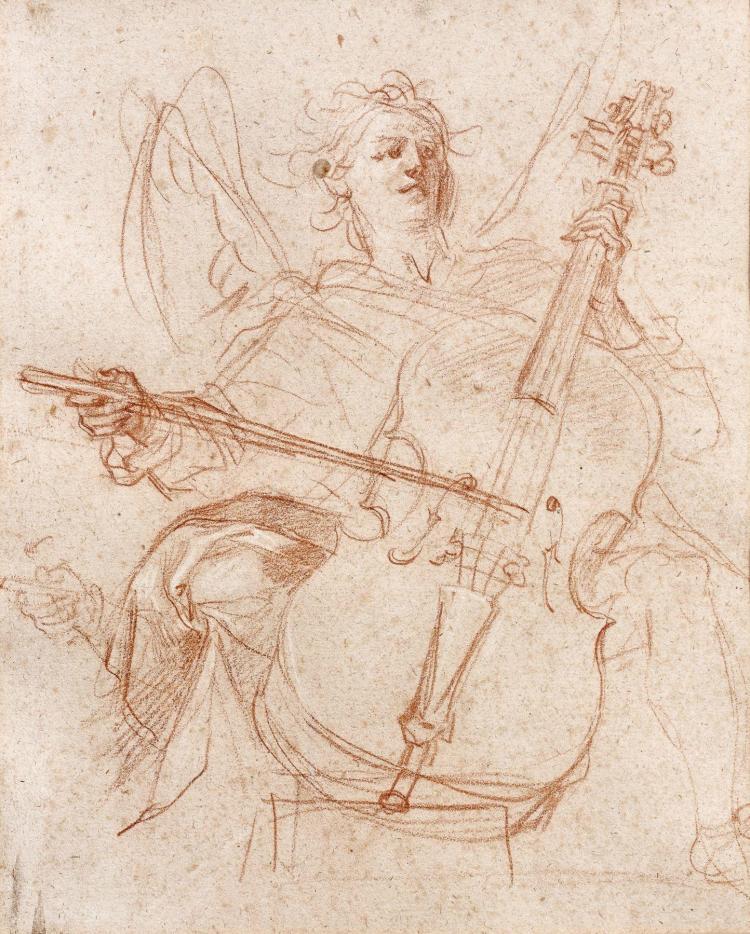Baldassare Franceschini, dit Il Volterrano Volterra, 1611 - Florence, 1689 Ange musicien Sanguine