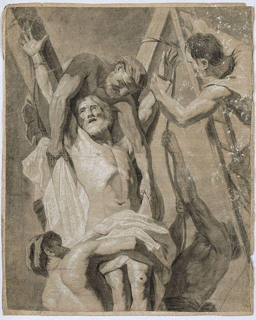 Gérard Audran Lyon, 1640 - Paris, 1703 Figure drapée en buste, le bras droit levé, d'après Le Sueur Sanguine et rehauts de craie bla..