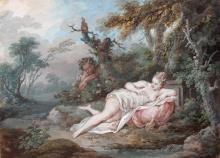 Jacques-Philippe Caresme Paris, 1734 - 1796 Satyre et nymphe et Léda et le cygne Paire de gouaches
