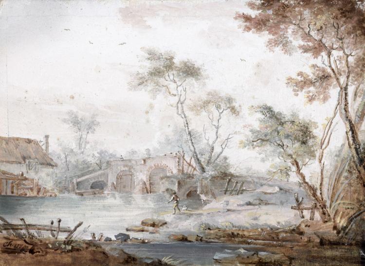 Claude Hoin Dijon, 1750 - 1817 Pêcheur au pied d'un pont et Lavandière devant un moulin Paire de gouaches sur vélin tendu sur carton