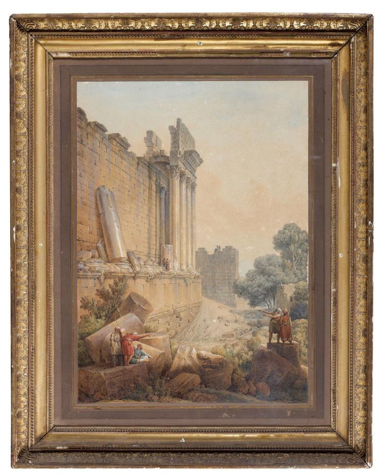 Louis-François Cassas Azay-le-Férron, 1756 - Versailles, 1827 Vue du temple de Baalbek animée de soldats turcs Aquarelle et gomme ar...