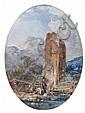 Louis-Gabriel Moreau Paris, 1740 - 1806 Lavandière au pied d'une vieille tour Gouache de forme ovale, Louis Gabriel Moreau, Click for value
