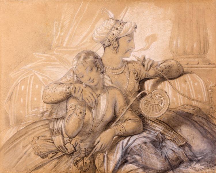 Achille Deveria Paris, 1800 - 1857 Le sultan perse et sa favorite Crayon noir et craie blanche