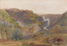 Jean-Achille Benouville Paris, 1815 - 1891 Vue de Tivoli Aquarelle gouachée