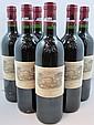 6 bouteilles CHÂTEAU LAFITE ROTHSCHILD 1998 1er GC Pauillac (Etiquettes tachées dont 2 capsules déchirées)