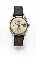 JAEGER LECOULTRE MASTER MARINER vers 1960 Montre bracelet en acier. Boîtier rond. fond vissé. Cadran argent avec dateur par guic...