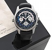 GIRARD PERREGAUX  WW.TC BMW ORACLE L.E. vers 2010 Rare et beau chronographe bracelet world time en acier. Boîtier rond, poussoirs...
