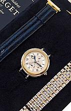 FORGET  ASTRONOMIQUE CHRONOMETRE vers 1990  Belle montre bracelet en acier. Boîtier rond, fond saphir, lunette or godronnée. Cad...