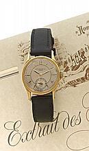 PATEK PHILIPPE CALATRAVA réf: 448 n° 295301 vers 1938 Belle montre bracelet en or. Boîtier rond. Cadran argent satiné avec index...
