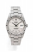 ROLEX OYSTER DATE réf: 15210 vers 1993 Belle montre bracelet en acier. Boîtier rond, couronne et fond vissés. Lunette acier cran...
