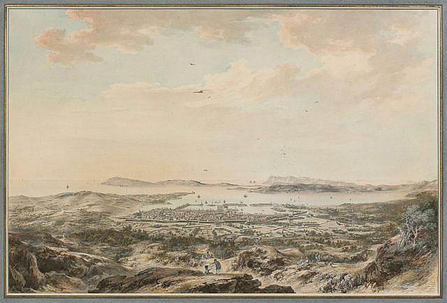 Louis-Nicolas de Lespinasse Pouilly-sur-Loire, 1734 - Paris, 1808 Vue de la rade de Toulon depuis le Mont Farron Aquarelle gouachée...