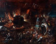 Attribué à Pieter Huys Vers 1520 - 1580 La tentation de saint Antoine Huile sur panneau de chêne