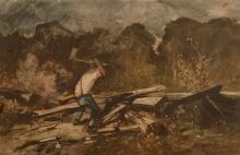 Louis-Adolphe HERVIER Paris, 1818 - 1879 Vue de Fontainebleau et Bûcheron au travail Deux dessins à l'aquarelle gouachée, dans un mê..