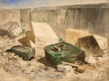 Louis-Adolphe HERVIER Paris, 1818 - 1879 Vue d'une carrière de pierre Aquarelle gouachée