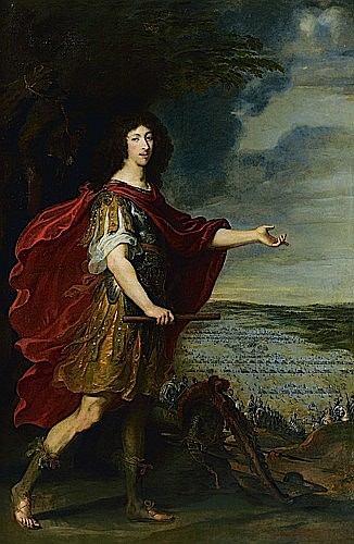 Juste d'EGMONT (Leyde, 1601 - Anvers, 1674) PORTRAIT DU GRAND CONDE DEVANT LE CHAMPS DE BATAILLE DE ROCROI Sur sa toile d'origine