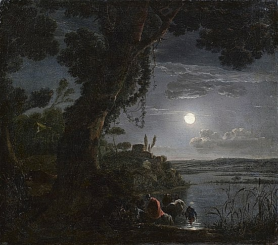 Attribué à Jean-François HUE (Saint Arnould-en-Yvelines, 1751- Paris, 1823) VOYAGEURS TRAVERSANT LA RIVIERE AU CLAIR DE LUNE Huile s...