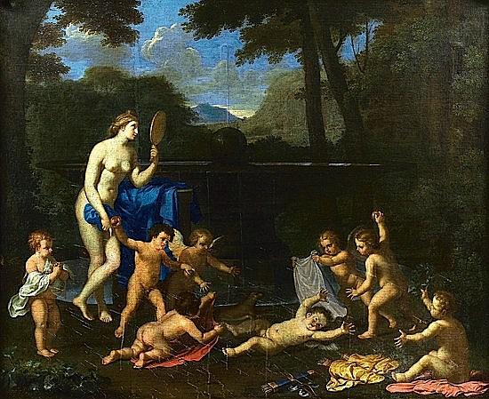 Charles-Alphonse DUFRESNOY (Paris, 1611 - Villiers-le-Bel, 1668) VENUS A LA FONTAINE Huile sur toile, rentoilée