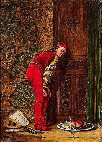Alfred François GUES (Né à Montargis en 1833 ) LE PAGE INDISCRET Huile sur panneau