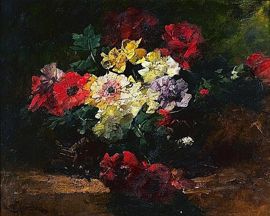 Georges JEANNIN (Paris, 1841 - (?), 1925) BOUQUETS DE PAVOTS ET PIVOINES Huile sur toile