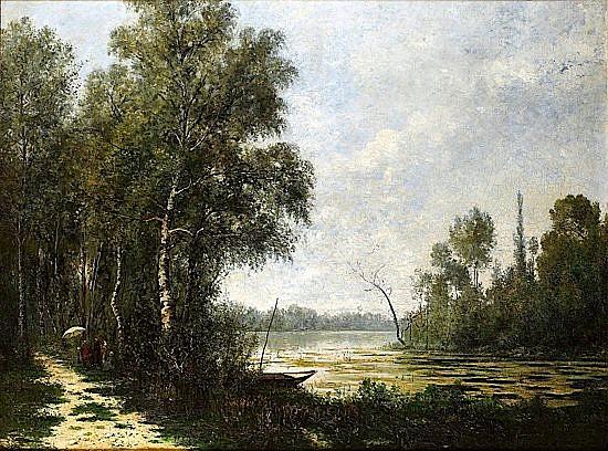 Paul Emmanuel PERAIRE (Bordeaux, 1829 - Paris, 1893) L'ETANG A MORTEFONTAINE Huile sur toile