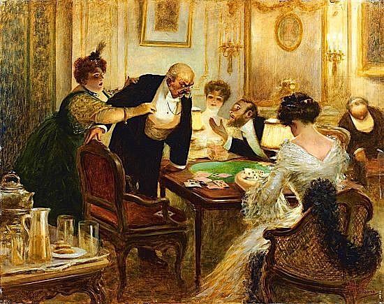Albert GUILLAUME (Paris, 1873 - Faux, 1942) PARTIE DE BRIDGE Huile sur panneau d'acajou