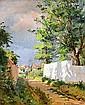 Ludovic ALLEAUME (Né à Angers en 1859) HOMME ET SON CHIEN DANS UNE RUE Huile sur toile, Ludovic Alleaume, Click for value