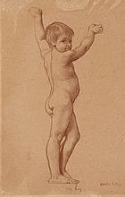 Emile Lévy Paris, 1826 - 1890 Etude de jeune garçon les bras levés Sanguine
