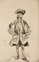 Edouard Detaille Paris, 1848 - 1912 Portrait d'homme en costume Louis XV Plume et encre brune,