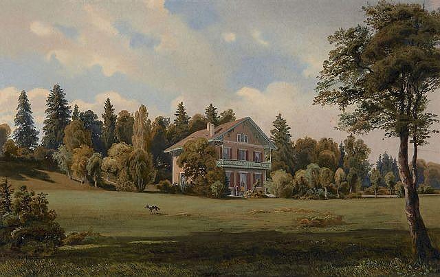 Jean-Marc Dunant-Vallier Genève, 1818 - 1888 Vue d'une maison de plaisance dans un parc Aquarelle gouachée