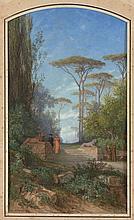 Auguste Anastasi Paris, 1820 - 1889 La promenade de l'évêque Aquarelle gouachée de forme cintrée en partie supérieure,