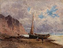 Eugenio Amus 1834 - 1899 Barque sur un littoral Huile sur panneau d'acajou, une planche,