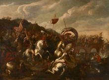 Attribué à Vincent Adriaenssen dit Leckerbetien Anvers, 1595 - Rome, 1675 La bataille du Pont Milvius Huile sur toile