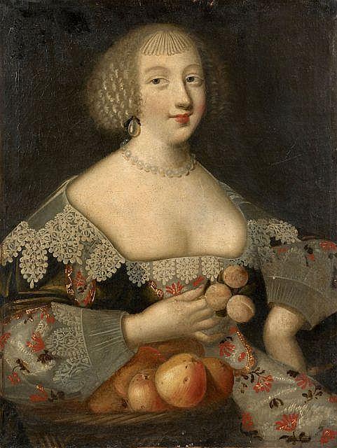 Attribué à Jean Ducayer Actif en France au début du XVIIe siècle Portrait d'une dame de qualité à la corbeille de fruits Huile sur t..
