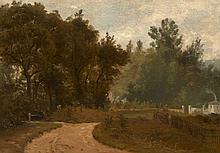 Adrien Dauzats Bordeaux, 1804 - Paris, 1868 Chemin en lisière de forêt à Garches Huile sur panneau,
