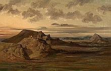 Adrien Dauzats Bordeaux, 1804 - Paris, 1868 Paysage romantique avec le château de Teba en Espagne Huile sur toile (Toile d'origine),