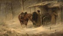 Adolf Schreyer Francfort-sur-le-Main, 1828 – Cronenberg, 1899 Halte de cosaques Huile sur toile (Toile d'origine),